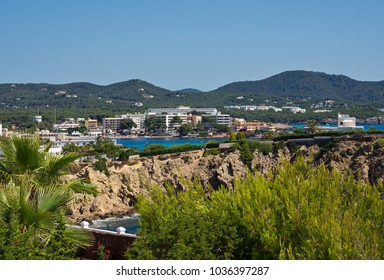 Panoramic view of the town of Es Canar, on the island of Ibiza, Spain.