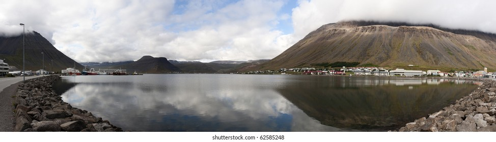 Panoramic view of the town of Isafjordur in the NorthWest of Iceland. Image obtained by stitching multiple pictures.