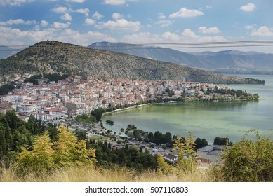 Panoramic view of the town of Kastoria and lake Orestiada in northern Greece
