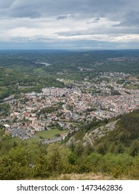 Panoramic view of the town of Lourdes, Occitanie, Hautes-Pyrénées, France, from the Pic du Jer