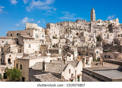 Panoramic view to the town of Matera in Italy with historic buildings. Unesco heritage site