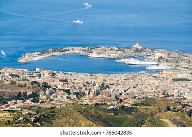 Panoramic view of the town of Messina, on the strait between Sicily and Calabria in mainland Italy.