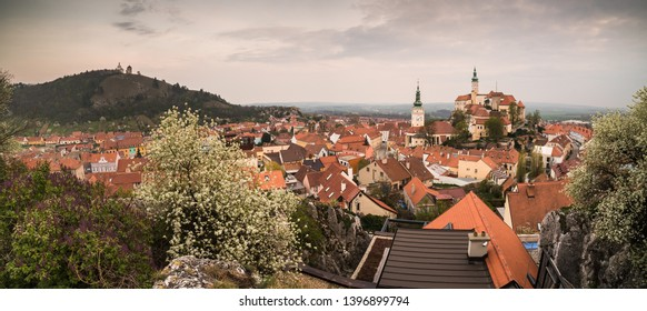 Panoramic View of Town of Mikulov with Mikulov Castle in South Moravia, Czech Republic