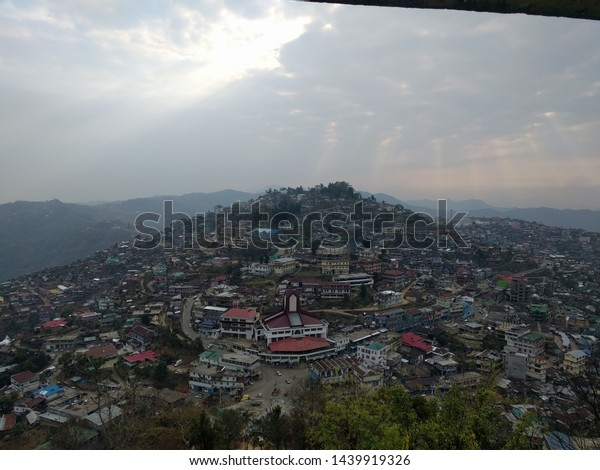 A panoramic view of the town of Mokokchung, Nagaland