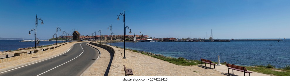 Panoramic view to the town of Nessebar, Bulgaria