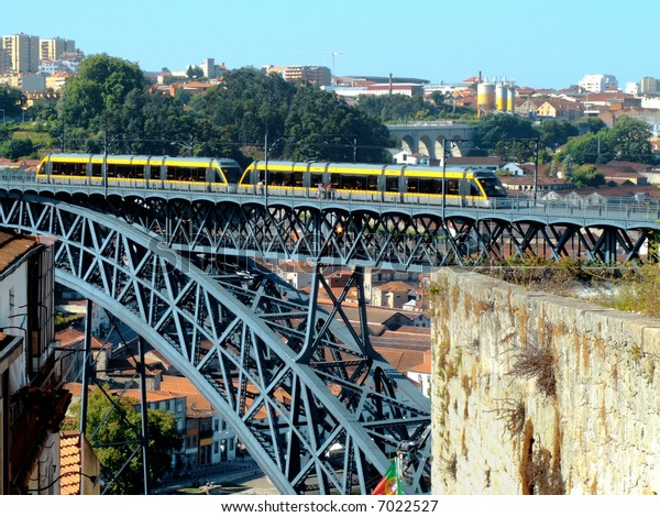 Panoramic view of the town of Oporto in north portugal and Dom Luis I bridge, engineered by a disciple of Gustave Eiffel