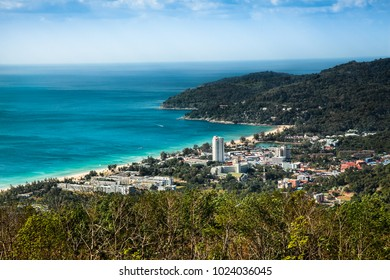 Panoramic view of the town of Patong and beach. It is the main tourist resort in Phuket and is the center of Phuket's nightlife and shopping. Phuket Thailand