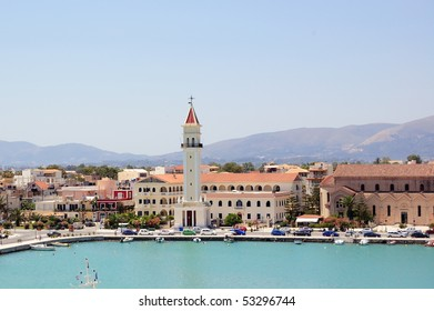 Panoramic view of the town and port of Zakynthos, Greece.