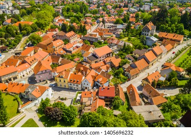 Panoramic view of the town of Samobor in Croatia from drone, old houses in city center