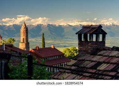 Panoramic view of the town of Sighnaghi, with the Caucasus Mountains in the background, in eastern Georgia