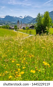 Panoramic view of town and surounding mountains, Kitzbuhel, Austrian Tyrol, Austria, Europe 1-5-2019