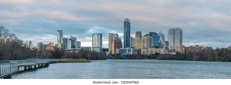 Panoramic View of Townlake River With Downtown Austin in the Background