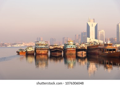 Panoramic view of traditional boat taxi in Dubai Creek