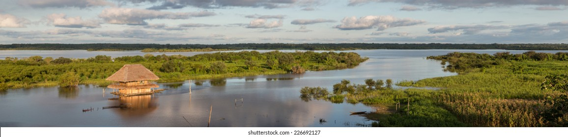 Panoramic view of a Traditional house and  the Amazon river in Iquitos, Loreto, Peru