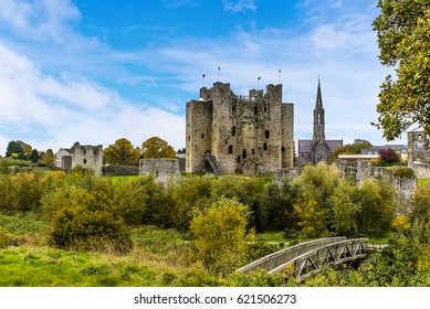 A panoramic view of Trim and a wooden bridge across the River Boyne, Ireland