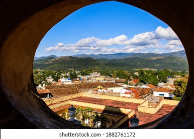 Panoramic view of Trinidad, Cuba; historic Cuban houses in the midst of the Cuban nature