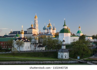 Panoramic view of the Trinity-Sergius Lavra in the early morning at dawn. Sergiev Posad, Moscow region, Russia