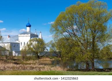 Panoramic view of Troitse-Danilov Monastery in Pereslavl-Zalessky, Russia. Orthodox monastery in Pereslavl-Zalessky. The Golden Ring of Russia.