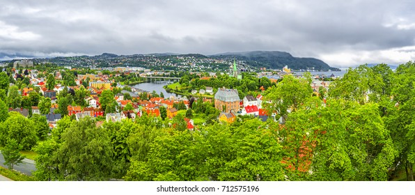 Panoramic view of Trondheim,  river Nidelva , Cathedral Nidarosdomen , Trondheim fjord and center of the city. Norway. Trondheim, historically Kaupangen, Nidaros and Trondhjem, Norway.