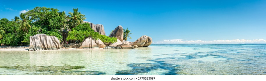 Panoramic view of a tropical beach on La Digue, Seychelles