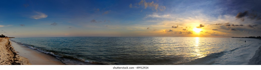 A Panoramic View Of Tropical Cuban Beach At Sunset Playa Ancon Cuba