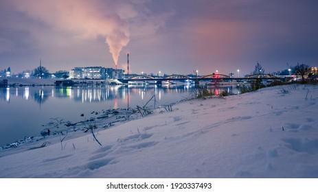 A panoramic view of the Trzebnicki bridge in Wrocław, Poland in winter - Shutterstock ID 1920337493