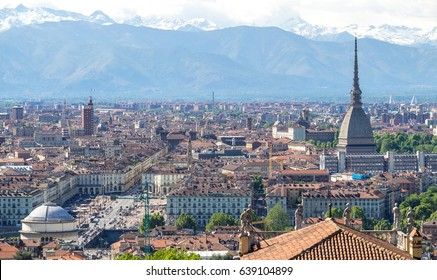 Panoramic view of Turin city center, with Mole Antonelliana and Piazza Vittorio Veneto in foreground