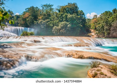 Panoramic view of the turquoise waterfalls at Agua Azul in Chiapas, Mexico