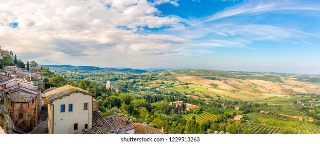Panoramic view at the Tuscany nature from Montepulciano in Italy