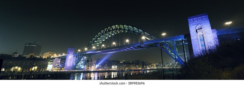 Panoramic view of the Tyne Bridge, which spans the river between Newcastle upon Tyne and Gateshead in the North East of England.
