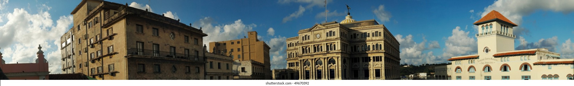 Panoramic view of typical Old havana buildings against sunset background