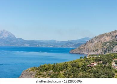 Panoramic view of the Tyrrhenian coast of Basilicata near Maratea