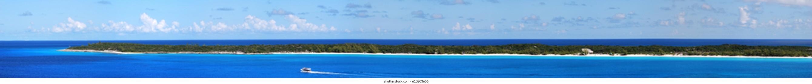 The panoramic view of uninhabited island Half Moon Cay (Bahamas).