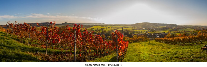 Panoramic view of Unterjesingen near Tübingen, Germany, with view of Wurmlinger Kapelle (chapel) and vineyard with colorful autumn leaves in romantic afternoon light