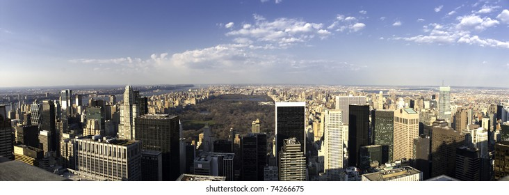panoramic view of upper manhattan viewed from the Rockefeller building.