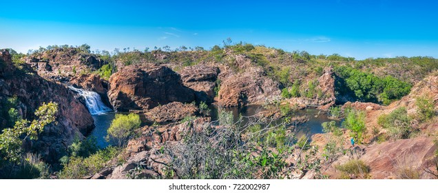 Panoramic view of the upper waterfall and pools at Edith Falls on on Leilyn Trail along Edith River, in the Nitmiluk National Park, Northern Territory,  Australia.