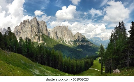 Panoramic view of Vajolet and Catinaccio mountains from Ciampedie - Trentino Alto Adige - Italy