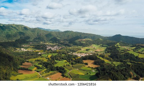 Panoramic view of Valle da Furnas in San Miguel island, Azores
