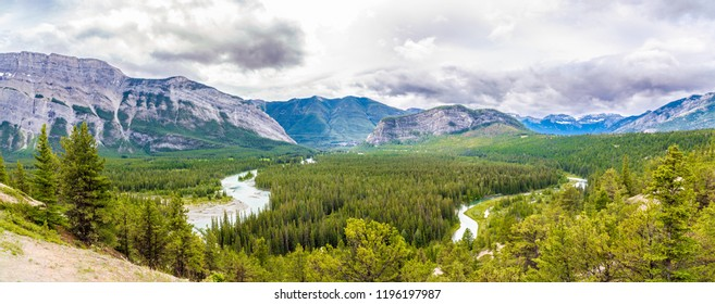 Panoramic view at the Valley of Bow river from Hoodoos view point in Banff National Park ,Canadian Rocky Mountains