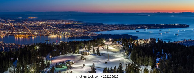 Panoramic View of Vancouver city, british columbia, Canada, from the summit of Grouse Mountain ski resort at Dusk