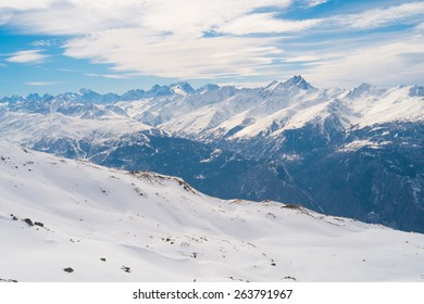 Panoramic view in Vanoise national park, Val Thorens, Alps mountains, France