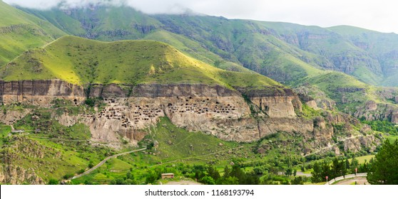Panoramic view of Vardzia cave city-monastery. Vardzia is located in the Erusheti Mountain on the left bank of the Kura River. view from the monastery to the valley of the river and green slopes