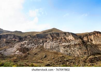 Panoramic view of Vardzia cave city-monastery. Vardzia was excavated in the Erusheti Mountain on the left bank of the Kura River, thirty kilometres from Aspindza, Georgia