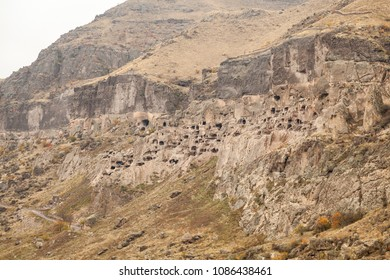 Panoramic view of Vardzia, a cave monastery site in southern Georgia, excavated from the slopes of the Erusheti Mountain on the left bank of the Kura River, thirty kilometres from Aspindza