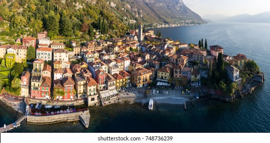 Panoramic view of Varenna. Aerial view with drone. Como lake