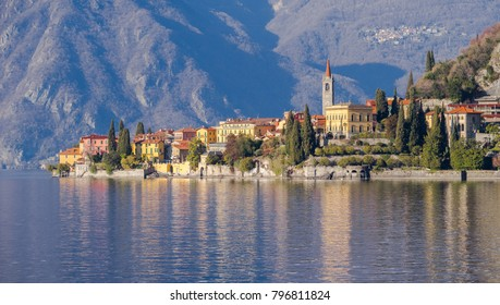 Panoramic view of Varenna, romantic small town on Como Lake in Northern Italy