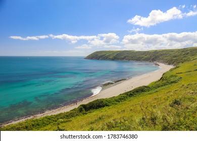 Panoramic view of Vault Beach On The Roseland Peninsular In Cornwall, England, Britain, Uk