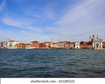 panoramic view of venice from the sea showing the salute area and landmark buildings