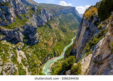 Panoramic view of the Verdon Gorges, Grand Canyon. La Palud-sur-Verdon, Alpes de Haute Provence. France.