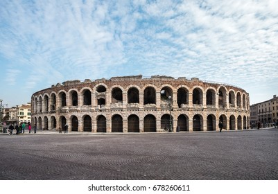 Panoramic view of Verona amphitheatre, completed in 30AD, the third largest in the world, Roman Arena in Verona, Italy